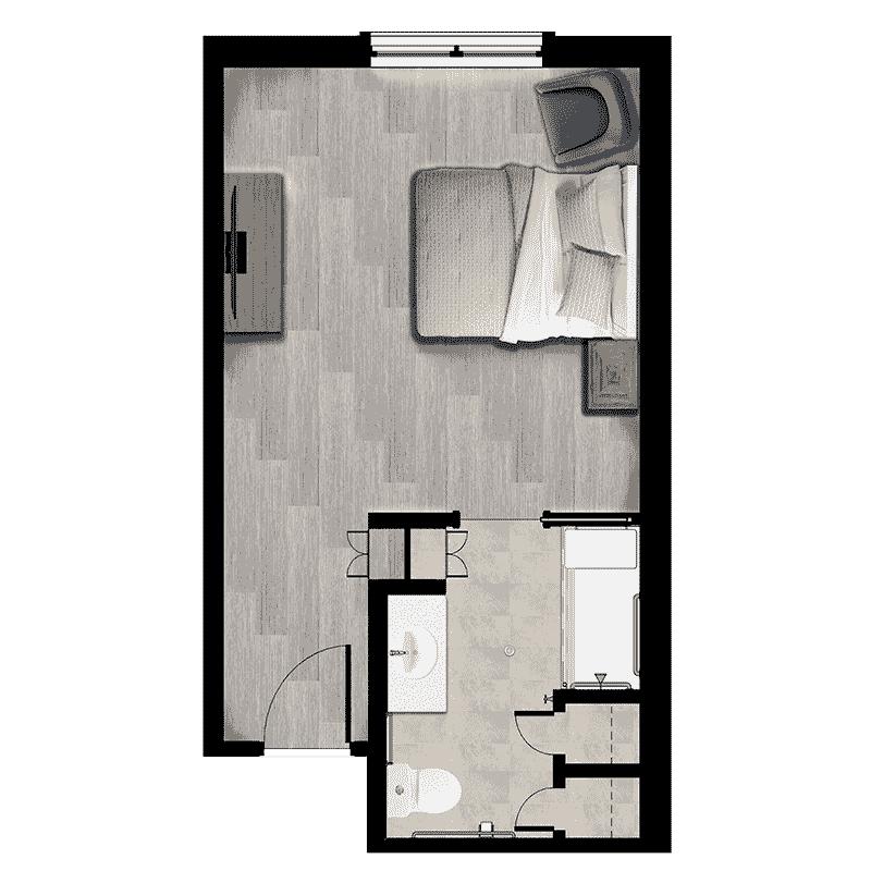 Sonata East at Viera 372 sqft Memory Care apartment floorplan
