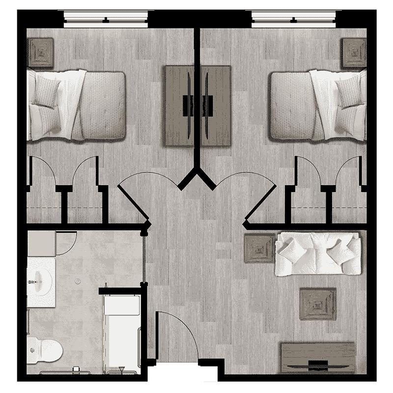 Sonata East at Viera 579 sqft Memory Care apartment floorplan